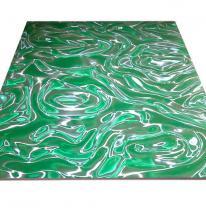 Панель потолочная Армстронг 3D цвета зеленого с серебром