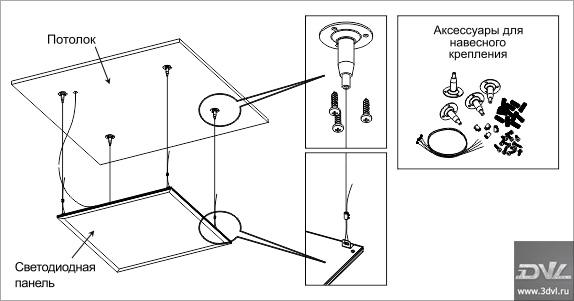 Схема монтажа светодиодной ультратонкой панели LP АСД
