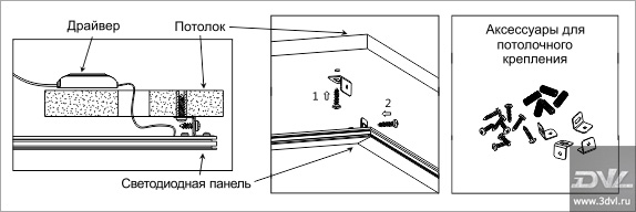 Вариант монтажа светодиодной ультратонкой панели LP АСД