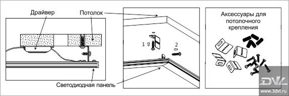 Вариант монтажа ультратонкой светодиодной панели LP