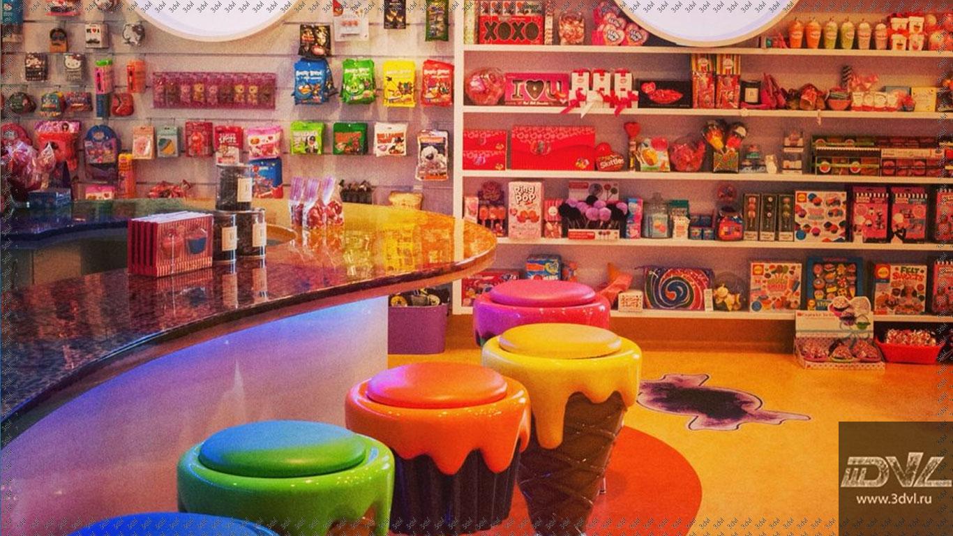 живая плитка на полу в магазине конфет