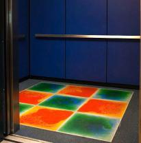 Живая плитка в детской школе в лифте